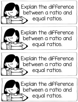 5th Grade Ratio & Percent Math Journal