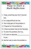 Math Journal Reflection Prompts