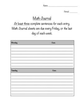 Math Journal Sheet