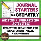 Geometry Math Journal Starters: Writing/Summarizing Graphic Organizers