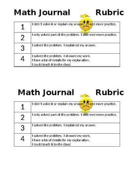 Math Journal Student Rubric