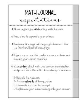 Math Journal Tabs