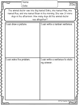 Math Journal Tasks for 2nd Grade SAMPLE {FREEBIE}