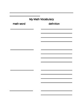 Math Journal Template