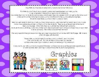 Math Journal Unit 1-Getting Reading for Story Problems