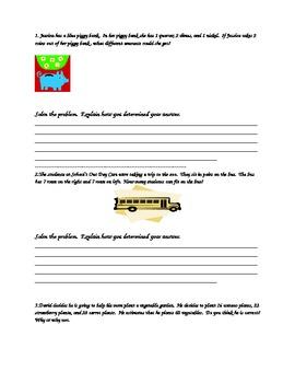 Math Journal Word Problems Grades 3-5