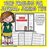 Math Journal Word Problems: Type Joining Unknown start, change, and result