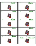 Math Journal and At-Home Reading Bag Labels