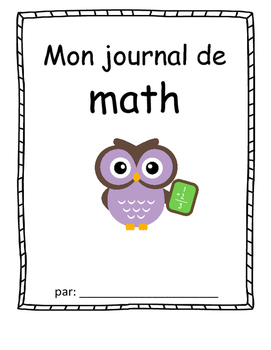 Math Journal cover- French