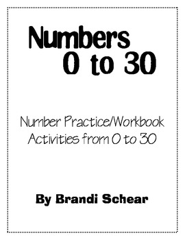 Math Journal for Kinders - Number Practice 0 to 30