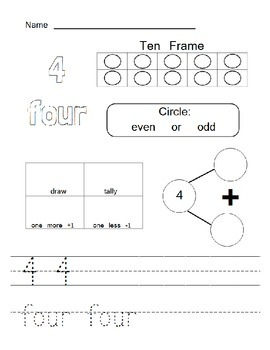 Math Journal for Numbers 1 - 20