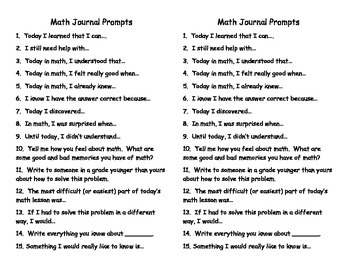 Math Journal or Math Interactive Notebook Writing Prompts