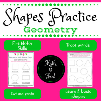 Math Journal pages: Shapes practice for Pre-K -- 1st grade