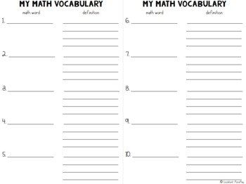 Math Journal to Explain Your Thinking with Vocabulary Pages