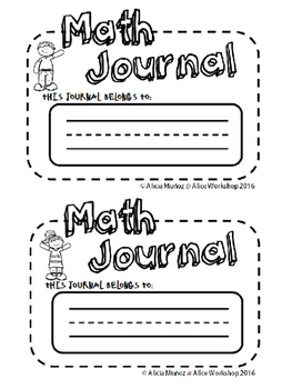 Math Journal worksheets for preschool CCSS