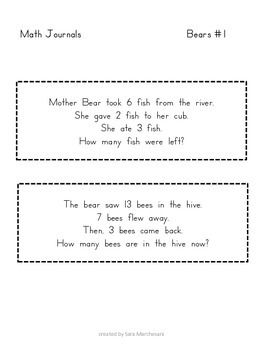 Math Journals:  Adding 3 Numbers, Addition and Subtraction with A Bear Theme