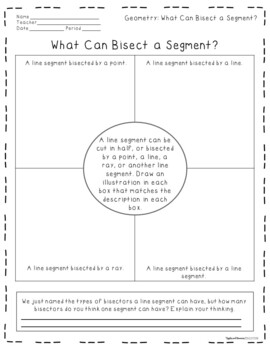 Journaling in Geometry: Line Segments (Midpoints and Bisectors)