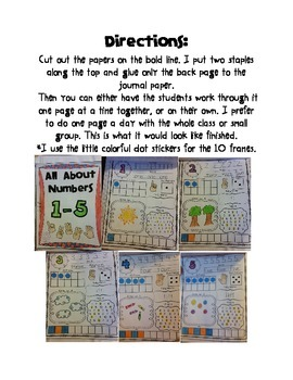Math Journals Numbers 1-5