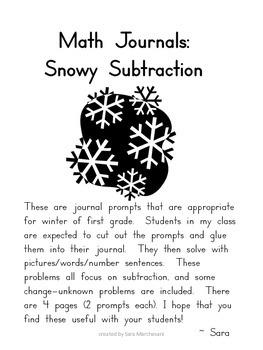 Math Journals:  Snowy Subtraction
