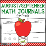 Math Journals for Pre-K: AUGUST/ SEPTEMBER (Back to School)