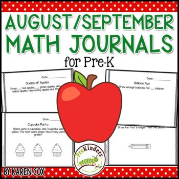 Math Journals for Pre-K: AUGUST/ SEPTEMBER (Back to School)