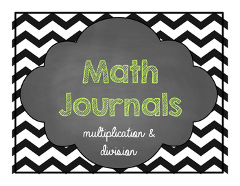 Math Journals for older kiddies- multiplication and division