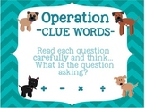 Math *KEY WORDS for addition/subtraction/mult/division* DOG THEMED POSTERS