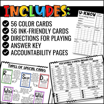 Math Key Words Game for Math Centers or Stations: U-Know