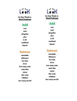Math Key Words Bookmark