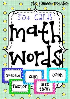 Math [Key] Words Cards [30+ Cards]