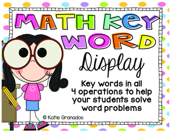 Math Key Words Bulletin Board Display | All 4 Operations | Color & B&W