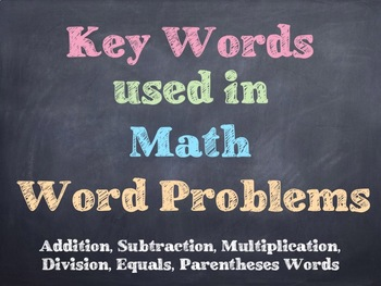 Math - Key Words In Math Problems PowerPoint