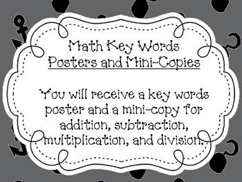 Math Key Words Poster Set- Pirates Theme