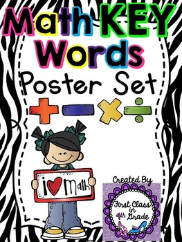 Math Key Words Posters (Zebra)