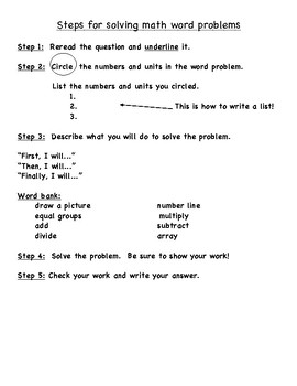 Math Key Words and Steps to Solve a Word Problem Sheet