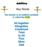 Math Key Words-Smart Bd & Printables to post/hand-out: for