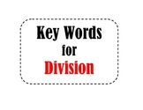 Math Key Words for Division