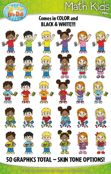 Math Kid Characters Clipart {Zip-A-Dee-Doo-Dah Designs}
