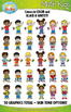 Math Kid Characters Clipart Set — Includes 50 Graphics!