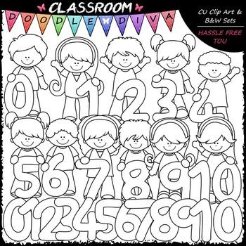 Math Kids Clip Art & B&W Bundle (2 Sets)