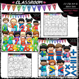Math Kids Clip Art & B&W Bundle (2 Sets)