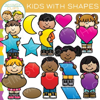 Kids With 2D Shapes Clip Art by Whimsy Clips | Teachers ...