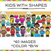 School Math Kids With 2D Shapes Clip Art