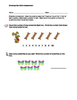 Math Kindergarten Assessments - Set #1