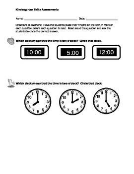 Math Kindergarten Assessments - Set #2