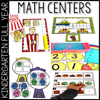 Math Kindergarten Centers for the Year ~GROWING BUNDLE~