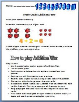 Math: Know Your Facts: Sums to 10: Assessment & Study Guide