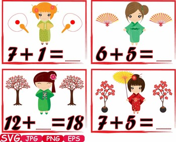 Math Kokeshi Japanese Dolls school Clip Art asian Kimono Kawaii count -352S
