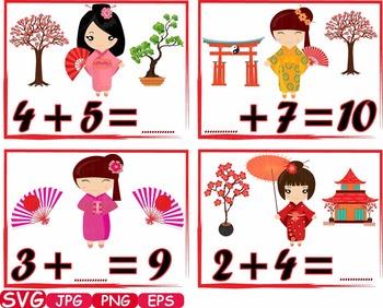 Math Kokeshi Japanese Dolls school Clip Art asian Kimono K