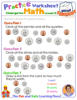 Math LESSON 12 ~ VIDEO & PRINTOUT ~ Getting to Know U.S. Coins